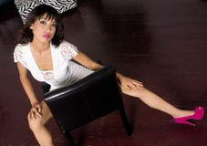 Girl Lace Dress Backwards Chair Pumps on Floor Royalty Free Stock Photography