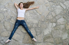 Girl on a floor. Royalty Free Stock Image