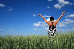 Girl in a floor. Girl costs in a floor with the hands lifted upwards, on a background of clouds in the blue sky Stock Image