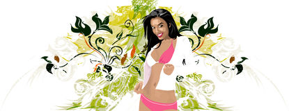 Girl floral. Girl with artistic floral back ground and black hair Royalty Free Stock Photography