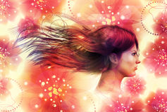 Girl on floral background Stock Image