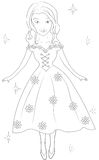 Girl in a floral dress coloring page Royalty Free Stock Image