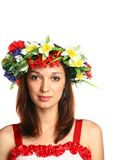 girl with floral garland Stock Photography