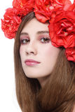 Girl in floral headband Royalty Free Stock Images