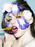 Girl with floral makeup Stock Image