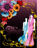 Girl floral vector Royalty Free Stock Images