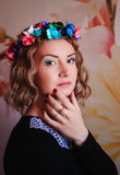 Girl with floral wreath Royalty Free Stock Photos