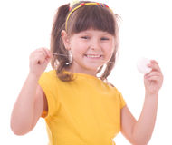 Girl flossing her teeth Royalty Free Stock Photography