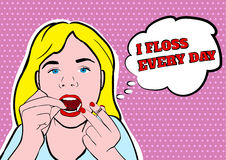 Girl flossing teeth vector illustration Stock Photo
