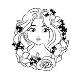 Girl flover stencil Royalty Free Stock Photos
