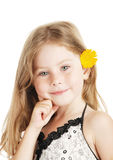The girl and a flower Stock Photography