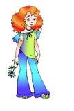 Girl with flower. Vector illustration in Adobe Illustrator EPS format Stock Photo