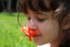 Girl and Flower Stock Images