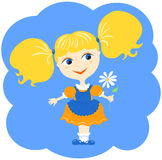 Girl and flower. Cartoon vector illustration Royalty Free Stock Image