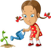 Girl and flower. Girl watering a plant from watering can, vector Royalty Free Stock Image