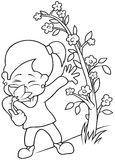 Girl with Flower. Black and White Cartoon illustration, Vector Royalty Free Stock Photo