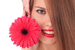 Girl and flower. The beautiful girl and red flower isolated on white Royalty Free Stock Images
