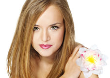 Girl with flower. Royalty Free Stock Photography