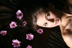 Girl flower Stock Images