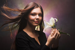 Girl with a flower Royalty Free Stock Photo