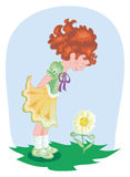 Girl with flower. Vector illustration showing a girl and a flower to make friends Stock Photo
