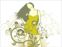 Girl on a flower background royalty free illustration