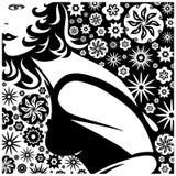 Girl on Flower Background Black and White Vector Illustration Stock Image