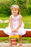 Girl with flower basket Stock Images
