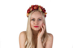 Girl with flower chaplet on her head and makeup Royalty Free Stock Photos