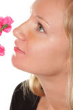 Girl with flower closeup Royalty Free Stock Image