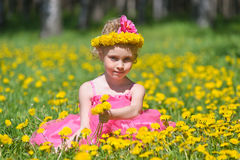 Girl with flower crown Stock Photography