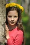 Girl with flower crown Stock Images