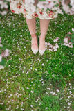 Girl in flower dress walking in the field of grass. Body detail Stock Images