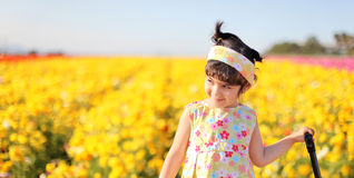 Girl in the flower field Stock Photos