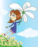 Girl on a flower flying over a field of daisies. Drawing a girl flying over a field of chamomile Royalty Free Stock Photo