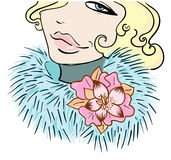 Girl with a flower in furs. Vector illustration Royalty Free Stock Photos