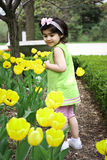 Girl in flower garden4 Royalty Free Stock Image