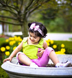 Girl in flower garden6 Royalty Free Stock Photos