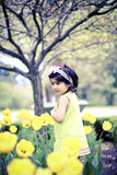 Girl in flower garden9 Royalty Free Stock Images