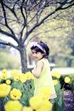 Girl in flower garden9 Royalty Free Stock Images