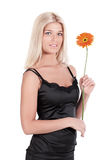 The girl with a flower Gerbera Stock Images
