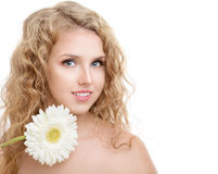 Girl with a flower Gerbera Stock Image