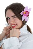 Girl with flower in hair Stock Photography