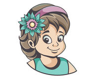 Girl with flower in hair Stock Image