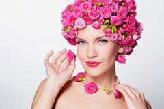 Girl with flower hairstyle Royalty Free Stock Photo