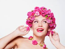 Girl with flower hairstyle Stock Photography