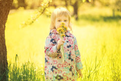 Girl with flower in hand Royalty Free Stock Image