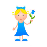 Girl with flower in hand Stock Photo