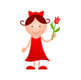 Girl with flower in hand Stock Image