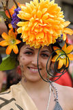 Girl with flower on head Royalty Free Stock Photos